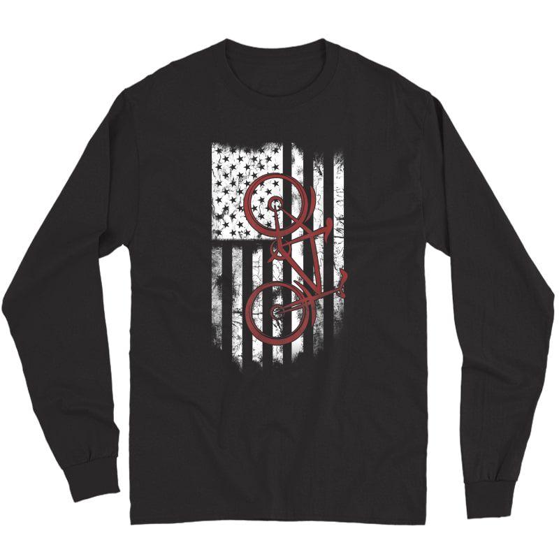 Bike Cycle Flag America Love Go Cycling T-shirt Long Sleeve T-shirt