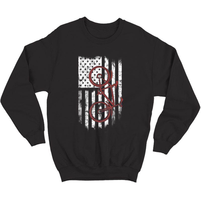 Bike Cycle Flag America Love Go Cycling T-shirt Crewneck Sweater